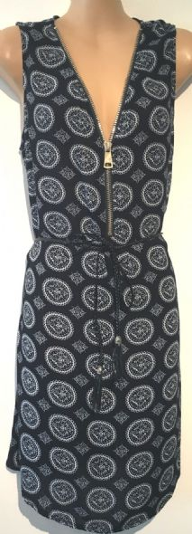 IZABEL NAVY PRINTED ZIP FRONT BELTED DRESS SIZE 10